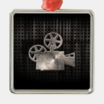 Rugged Movie Camera Square Metal Christmas Ornament