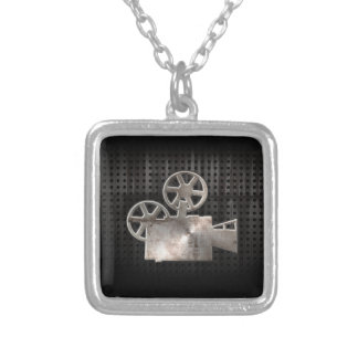 Rugged Movie Camera Square Pendant Necklace