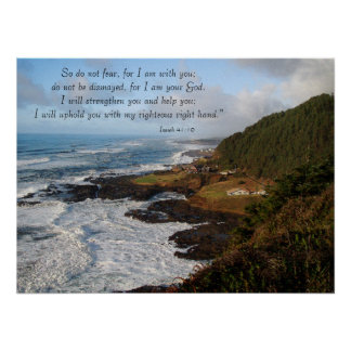Rugged Ocean Coast Isaiah 41:10 Print