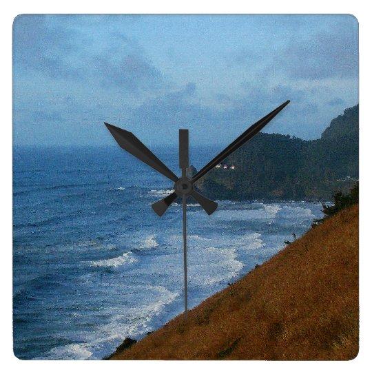Rugged Oregon Coastal Beach Ocean Sea Square Wall Clock