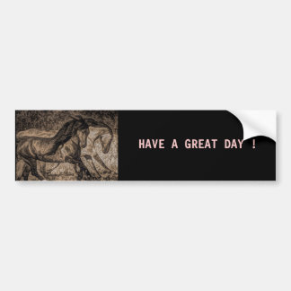 Rugged picture of two wild horses running bumper sticker
