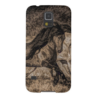 Rugged picture of two wild horses running case for galaxy s5