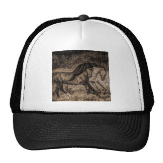 Rugged picture of two wild horses running trucker hat