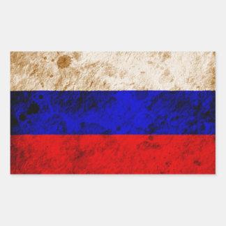 Rugged Russian Flag Rectangular Sticker