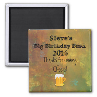 Rugged Rustic Earthy Tones Abstract Birthday 2 Inch Square Magnet