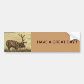 Rugged rustic picture of Elk bull on the praries Car Bumper Sticker