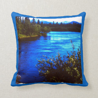 Rugged scenic vintage Alaskan River Pillow