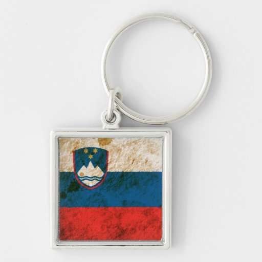 Rugged Slovenian Flag Silver-Colored Square Keychain