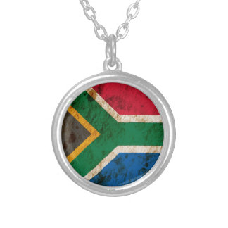 Rugged South African Flag Round Pendant Necklace