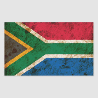 Rugged South African Flag Rectangular Sticker