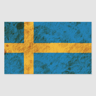 Rugged Swedish Flag Rectangular Sticker