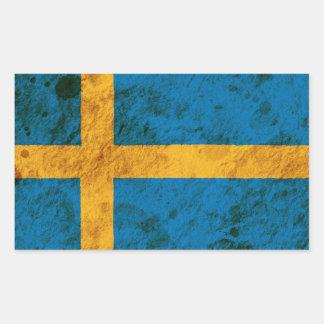 Rugged Swedish Flag Rectangular Sticker