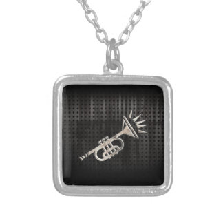 Rugged Trumpet Square Pendant Necklace