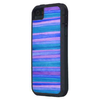 Rugged Turquoise, Blue, Violet Painted Stripes Case For iPhone SE/5/5s