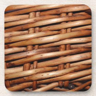 Rugged Wicker Basket Look Beverage Coasters