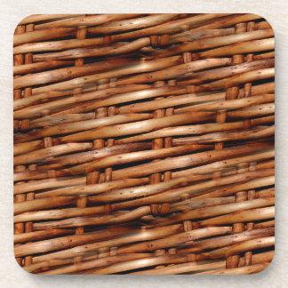 Rugged Wicker Basket Look Beverage Coaster