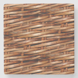 Rugged Wicker Basket Look Stone Beverage Coaster