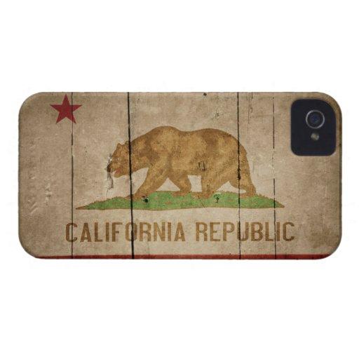 Rugged Wood California Flag Case-Mate iPhone 4 Case