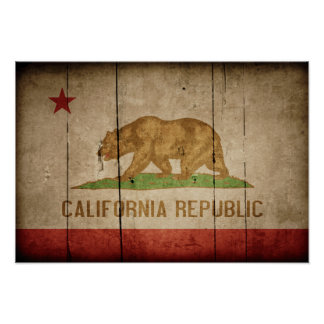 Rugged Wood California Flag Posters
