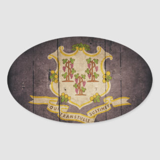 Rugged Wood Connecticut Flag Oval Sticker