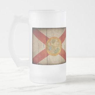 Rugged Wood Florida Flag 16 Oz Frosted Glass Beer Mug