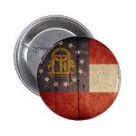 Rugged Wood Georgia Flag Pinback Buttons