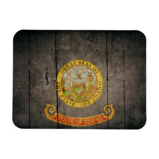 Rugged Wood Idaho Flag Magnet
