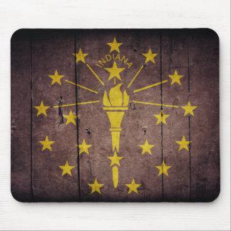 Rugged Wood Indiana Flag Mouse Pad