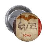 Rugged Wood Iowa Flag Pinback Button