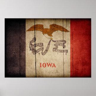 Rugged Wood Iowa Flag Poster