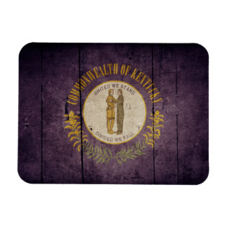 Rugged Wood Kentucky Flag Rectangular Photo Magnet