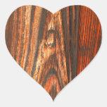 Rugged Wood Look Heart Sticker