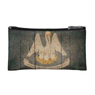 Rugged Wood Louisiana Flag Cosmetics Bags