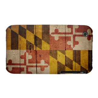 Rugged Wood Maryland Flag iPhone 3 Cases