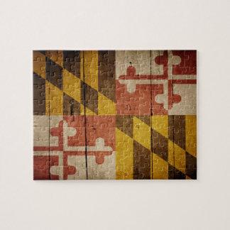 Rugged Wood Maryland Flag Jigsaw Puzzles