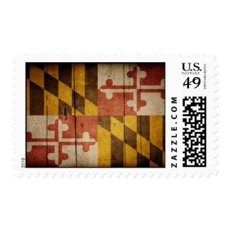 Rugged Wood Maryland Flag Postage Stamp