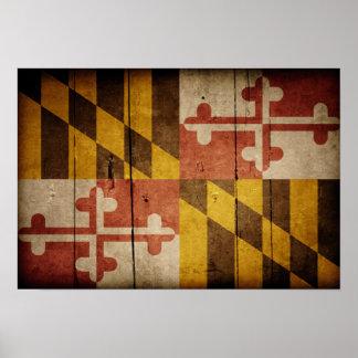 Rugged Wood Maryland Flag Poster