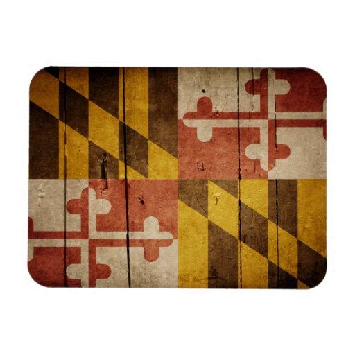 Rugged Wood Maryland Flag Rectangular Photo Magnet