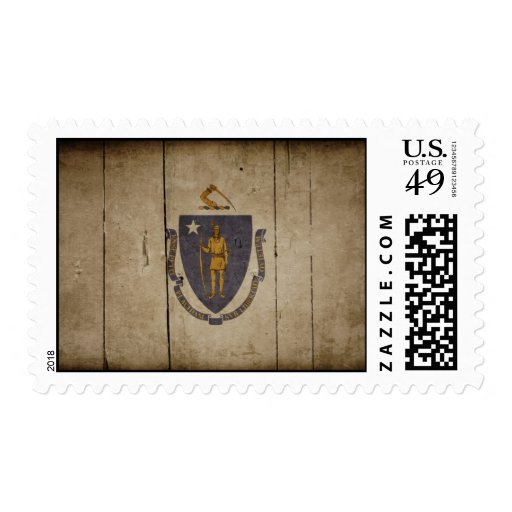 Rugged Wood Massachusetts Flag Postage Stamps