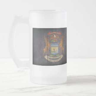 Rugged Wood Michigan Flag 16 Oz Frosted Glass Beer Mug
