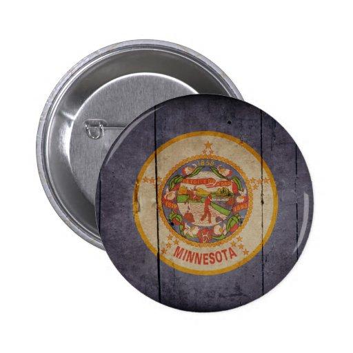Rugged Wood Minnesota Flag 2 Inch Round Button