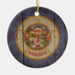 Rugged Wood Minnesota Flag Christmas Tree Ornament