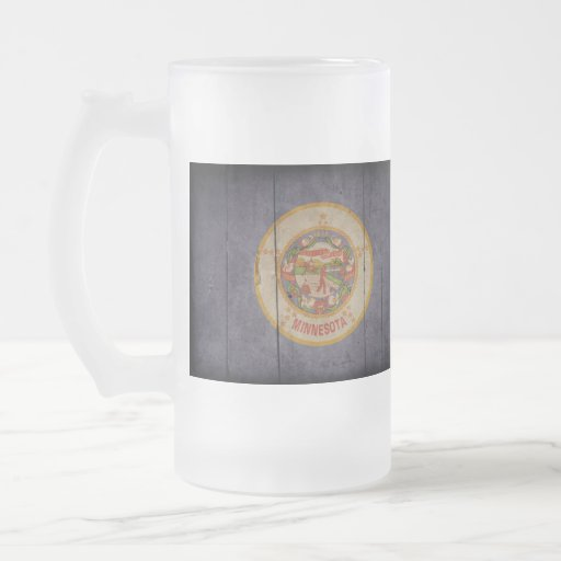 Rugged Wood Minnesota Flag 16 Oz Frosted Glass Beer Mug