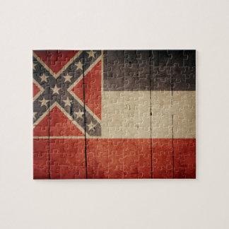 Rugged Wood Mississippi Flag Puzzle