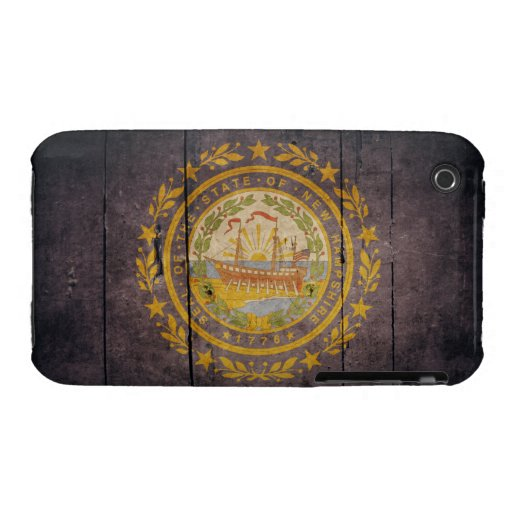 Rugged Wood New Hampshire Flag iPhone 3 Cover