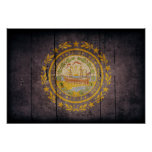 Rugged Wood New Hampshire Flag Posters