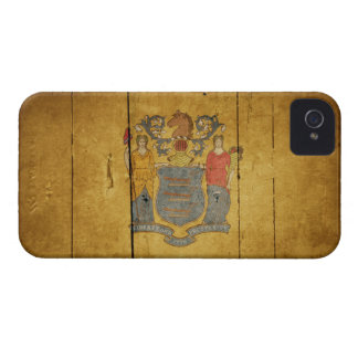 Rugged Wood New Jersey Flag iPhone 4 Cases