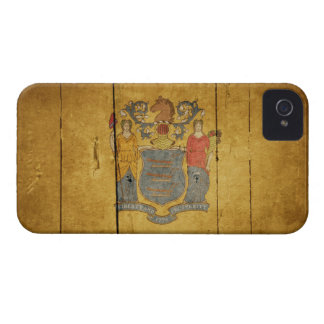 Rugged Wood New Jersey Flag iPhone 4 Covers