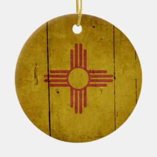 Rugged Wood New Mexico Flag Ceramic Ornament