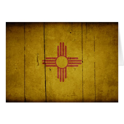 Rugged Wood New Mexico Flag Greeting Cards